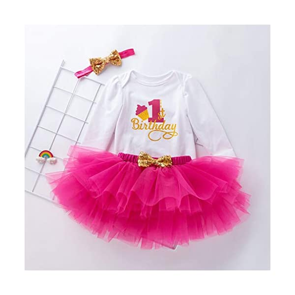 Gagacity Abiti Vestito Bambina 3 Pezzi Neonata Primo/Secondo Compleanno Abbigliamento Pagliaccetto+Gonna+Fascia 2