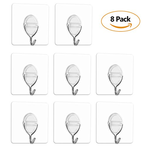 Adhesive Wall Hook 11 lb/5Kg(Max) No Nails No Glue Eco-Friendly Waterproof Oilproof Washable Reusable for Kitchen,Bathroom,Bedroom Transparent Wall Hook (Transparent, ()