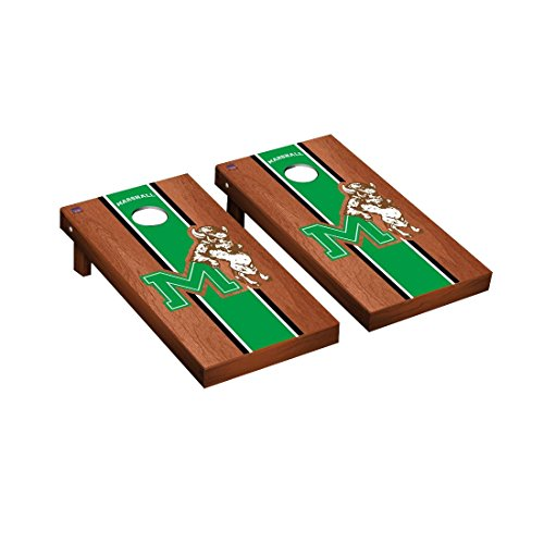 College Vault Marshall Thundering Herd Cornhole Game Set Rosewood Stained Stripe Version