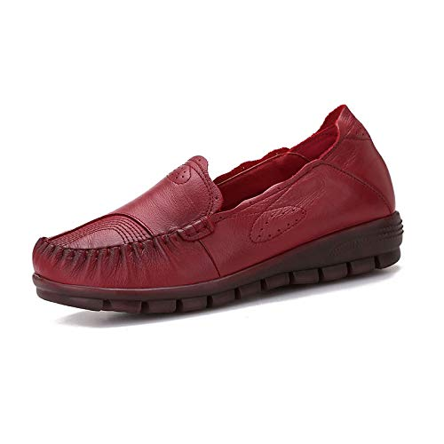 shoes comfortable and autumn shoes fashion retro casual ladies work bottom FLYRCX leather wedges shoes red single shoes soft Spring flat fZOqn5wp