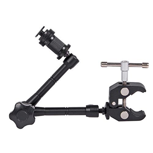 Pluto Black 11″ Adjustable/Power Articulated Magic Arm Super Fixture for Digital SLR Cameras/Cameras/Smartphones/LCD Monitors/LED Video Lights