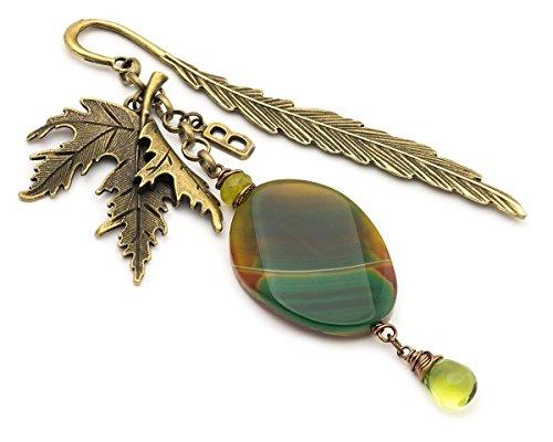 Personalized initial agate antique bronze feather metal unique graduation gift (Unique Personalized Bookmarks)