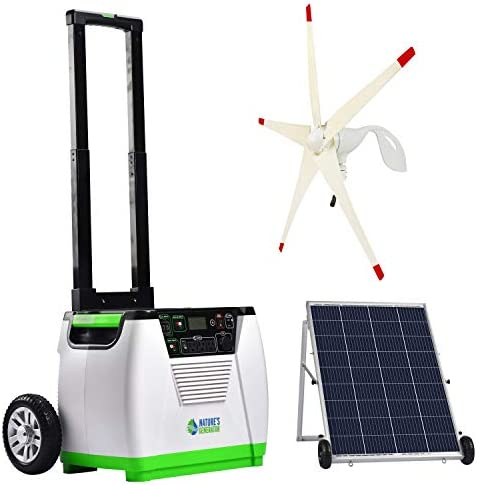 Nature s Generator Gold WE System 1800W Solar Wind Powered Pure Sine Wave Off-Grid Generator 100W Solar Panel Wind Turbine, w Infinite Expandability, Gasless for Day and Night Use