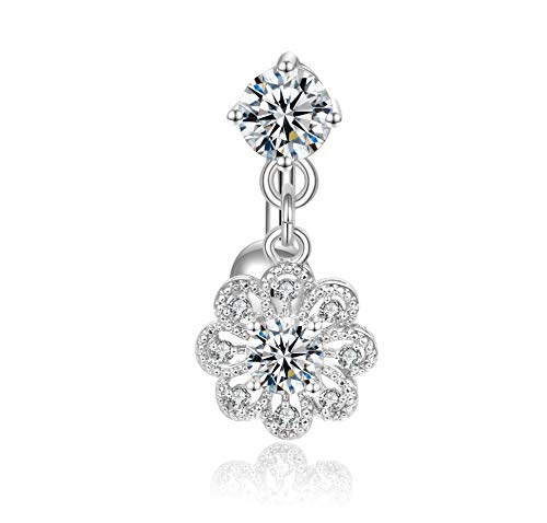 Candyfancy Reverse Belly Button Rings Dangle Surgical Steel Flower CZ 14G Navel Ring Naval Piercing Jewelry