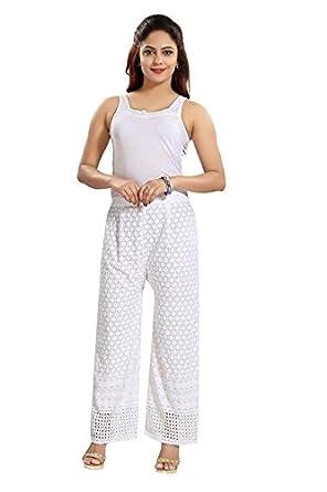 Dream & Dzire Women's Cotton Chikankari White Embroidered Palazzo for All Plus Size and Small Size Bottom Wear at amazon