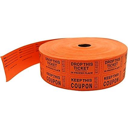 amazon com orange two part raffle tickets roll of 1000 double