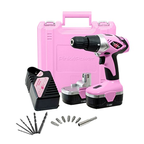 Pink Power Drill PP182 18V Cordless Electric Drill Driver Set for Women – Tool Case, 18 Volt Drill, Charger and 2 Batteries