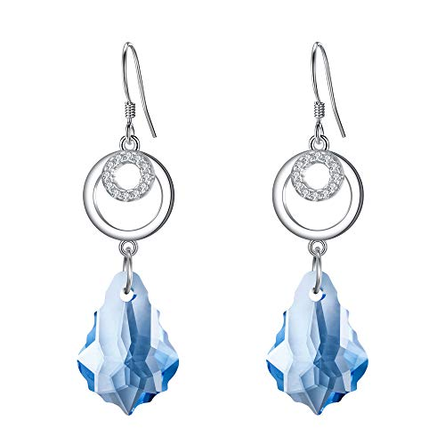 - BriLove 925 Sterling Silver Earrings for Women Swarovski Crystal CZ Open Hoop Baroque Chandelier Hook Dangle Earrings Aquamarine Color March Birthstone