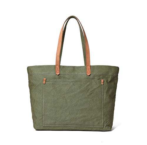 Canvas Shoulder Market Tote Bag Travel Handbags For Men And Women Double Genuine Leather Handles (Green Tote)