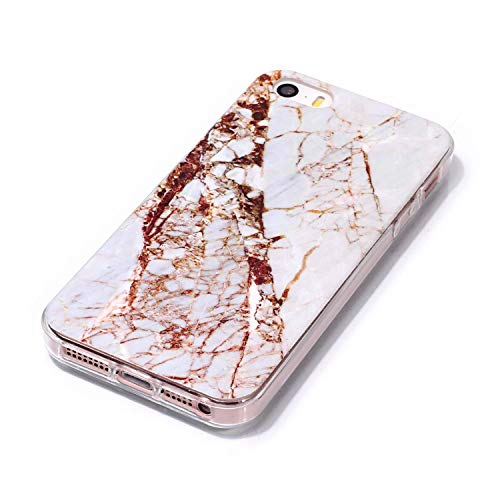 for iPhone 5/5S iPhone SE Marble Case with Screen Protector,Unique Pattern Design Skin Ultra Thin Slim Fit Soft Gel Silicone Case,QFFUN Shockproof Anti-Scratch Protective Back Cover - White by QFFUN (Image #2)