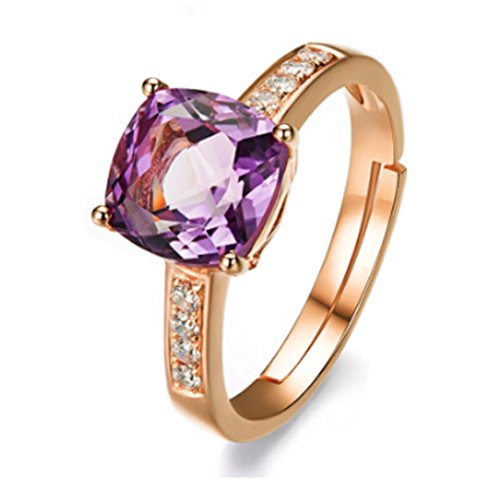 CanVivi Ring, Rose Gold Purple Amethyst Diamond Ring
