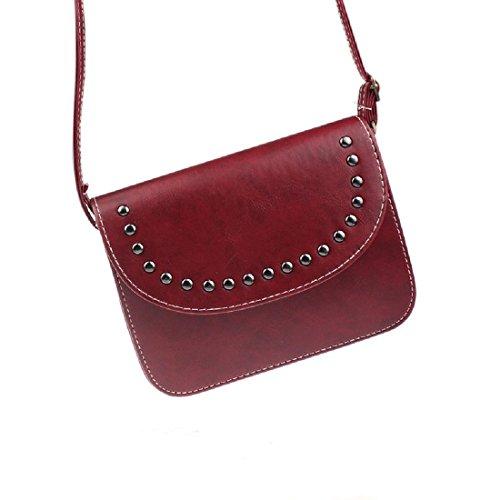 Cuoio retro' Borsa - TOOGOO(R)Donne borsa borse a tracolla del messaggero del cuoio retro' borsa (vino rosso)