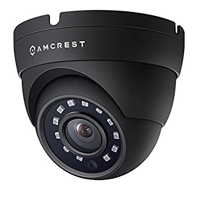 Amcrest Full HD 1080P 1920TVL Dome Outdoor Security Camera (Quadbrid 4-in1 HD-CVI/TVI/AHD/Analog), 2MP 1920x1080, 98ft Night Vision, Metal Housing, 3.6mm Lens 90° Viewing Angle, Black (AMC1080DM36-B) by Amcrest