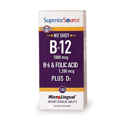 Superior Source No Shot B6/B12/Folic Acid Plus D Multivitamins, 100 Count