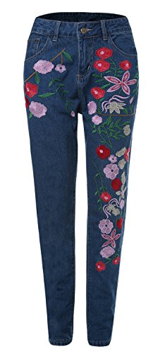Button Fly Embroidered Jeans - 7