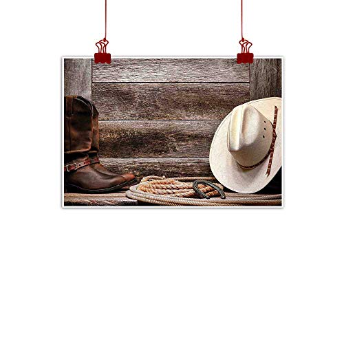 Sunset glow Artwork Office Home Decoration Western Decor,American West Rodeo White Straw Cowboy Hat with Lariat Leather Boots on Rustic Barn Wood, 28