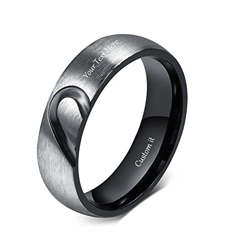 VNOX Free Engraving Stainless Steel Love Puzzle Couple Ring for Valentines Wedding Engagement (Stainless Steel Puzzle Ring)