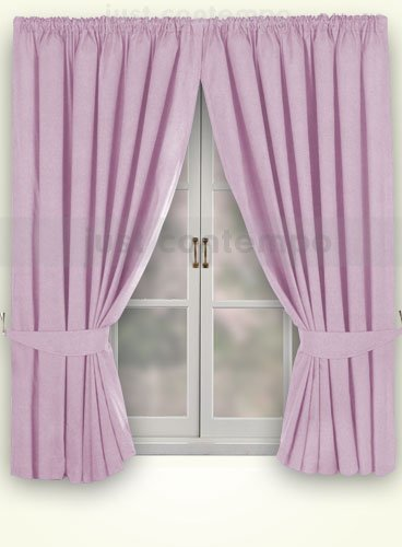 Lilac Purple Thermal Blackout Pencil Pleat Curtains 46 X 54