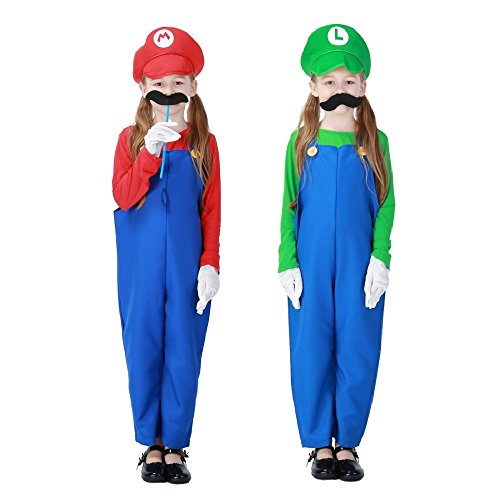 Super Mario Kids & Girl Suspender Skirt Halloween Costume Cosplay S-L (Mario And Luigi Infant Halloween Costumes)