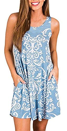 Summer Beach Dresses for Women Tshirt Sundresses Boho Casual Sleeveless Floral Shift Pockets Swing Loose Damask Light Blue Small