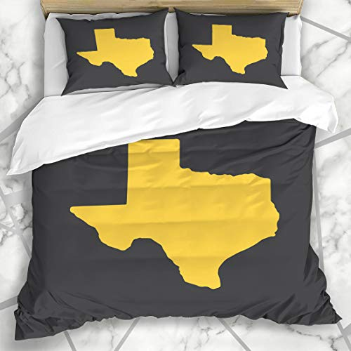 Ahawoso Duvet Cover Sets King 90x104 Texas Austin Yellow State Border Map Simple Star Abstract Dallas Fort Microfiber Bedding with 2 Pillow - El Paso Set Comforter