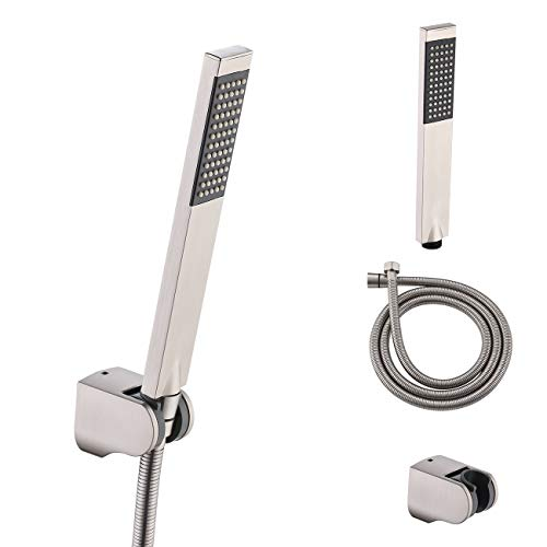 KES BRASS Handheld Shower Head with 1.5-Meter Long Hose and Holder Bracket Replacement Showerhead for Bathroom Showering System Contemporary Square Style, Brushed Nickel, LP135-2