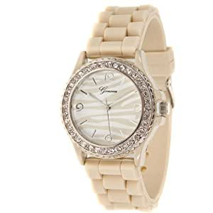 Mens & Womens Beige Zebra Silicone Crystal Large Face Watch