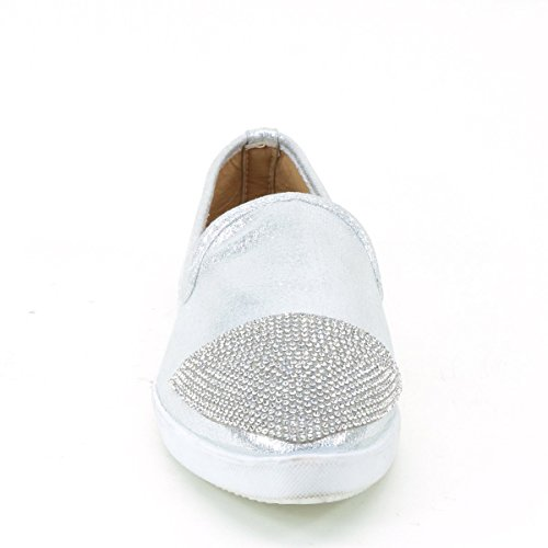 Brieten Womens Rhinestones Pointed Toe Flat Shoes Silver phhfm