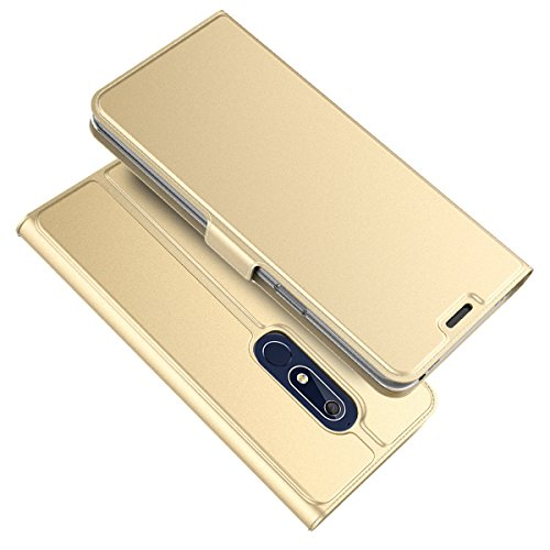 TOTOOSE Nokia 5.1 Case,[ Shock Absorbent ] Leather Case PU Leather Kickstand Wallet Cover Durable Flip Case for Nokia 5.1 Golden