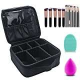 Makeup Case Cosmetic Bag Travel Makeup Train Case Black with 14 Pcs Premium Makeup Brushes Set Kit Rose Golden, Blender Sponge and Brush Egg Gift Set (17 Pcs)