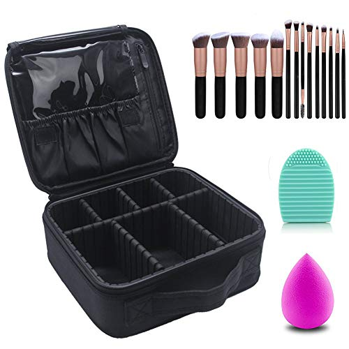Travel Train Case Professional Cosmetic Bag Sturdy Artist Makeup Organizer Make-up with 14 Pcs Premium Makeup Brushes Set Kit Rose Golden, Blender Sponge and Brush Egg Gift Set (17 Pcs) (Black)