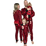 Lazy One Flapjacks, Matching Pajamas for The Dog, Baby & Kids, Teens, and Adults (Plaid Bear Cheeks, X-Small) (Color: Plaid Bear Cheeks Flapjack Onsie, Tamaño: Adult X-Small)