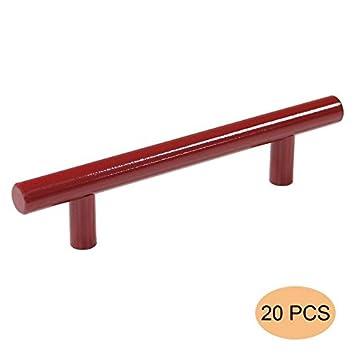 probrico 20 pcs rouge entraxe 96 mm en acier inoxydable meubles cabinet poignes de porte de