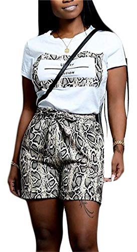 Women Fashion Digital Printed Slim 2 Piece Clubwear Crew Neck Short Sleeve T Shirt Snakeskin Short Leggings with Tie