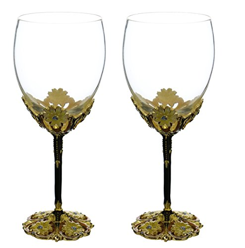 Fine Fairytale inspired Wine Glass with Metal Stem Decorated with Aqua Crystals and Yellow Flowers Pair Gift Set by IMPORTED GIFT DEPOT