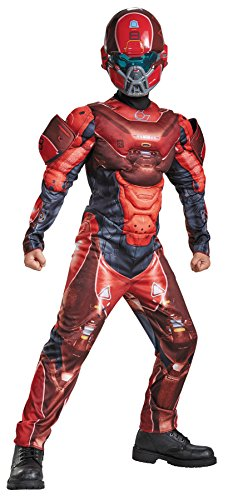 UHC Boy's Spartan Muscle Halo Military Soldier Theme Party Halloweem Costume, L (10-12) -