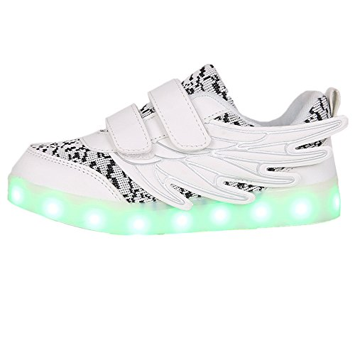 Hanglin Trade Christmas Kids 7 Colors LED Light up Shoes Sneakers for Boys Girls with Wings(White 12 M US Little Kid)