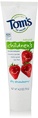 Tom's of Maine Natural Children's Anticavity Fluoride Toothpaste, Silly Strawberry, 4.2 Ounce