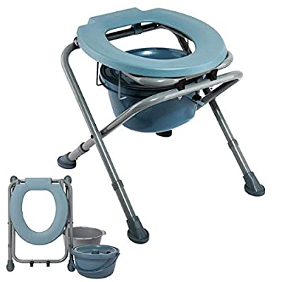 BDFA Folding Commode Portable Toilet Seat - Potty Adjustable Commode Chair - Comfort Chair Perfect for Pregnant Women, The Elderly, People with Reduced Mobility