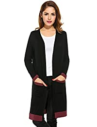 Meaneor Women's Light Weight Open Front Cardigan Long Cardigan with Pocket