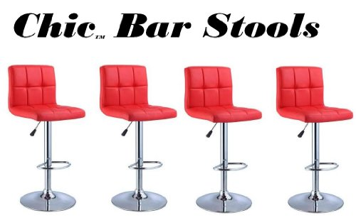South Mission Chic Modern Adjustable Synthetic Leather Swivel Bar Stools - Set of 4 (Red)