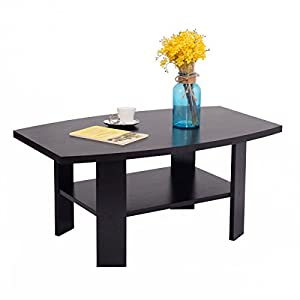 Black Wood Modern Coffee Table with Storage Shelves Living Room