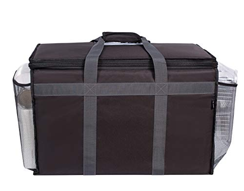 Insulated Commercial Food Delivery Bag with Side Pockets - Professional Food Warmer Portable for Catering Hot/Cold Meals - Thick Insulation Cooler Bag for Uber Eats, Doordash, Grocery - 23 x 14 x 15 by B&C Home Goods