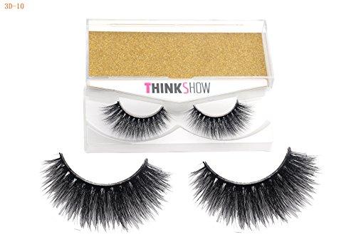 THINKSHOW Dramatic Look Lashes 100% Siberian 3D Reusable Mink Fur Fake Eyelashes Handmade Fashionable Eyelash Strip Lashes Thick Long Natural Daily Fake Faux Eyelashes for Makeup 1 pair Center Faux Eyelashes