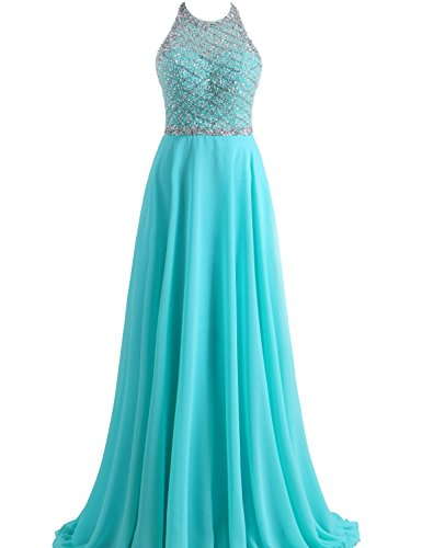 SeasonMall Women's Prom Dresses A Line Halter Open Back Chiffon & Tulle Dresses Size 2 Ice Blue (Ice Blue Contacts)