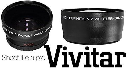 2-PC LENS KIT HD WIDE ANGLE /& 2.2x TELEPHOTO LENS FOR CANON VIXIA HF M40