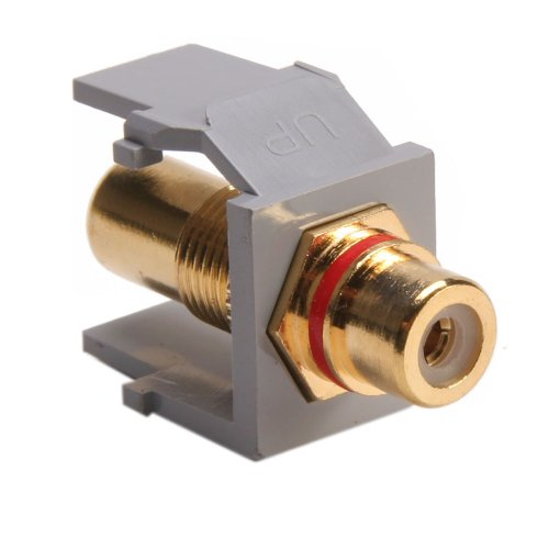 (Leviton 40830-BGR QuickPort RCA, Gold-Plated Connector with Red Stripe, Grey)