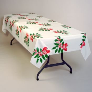 """Holly Bow Plastic Tablecloth 40"""" x 100' Roll"""