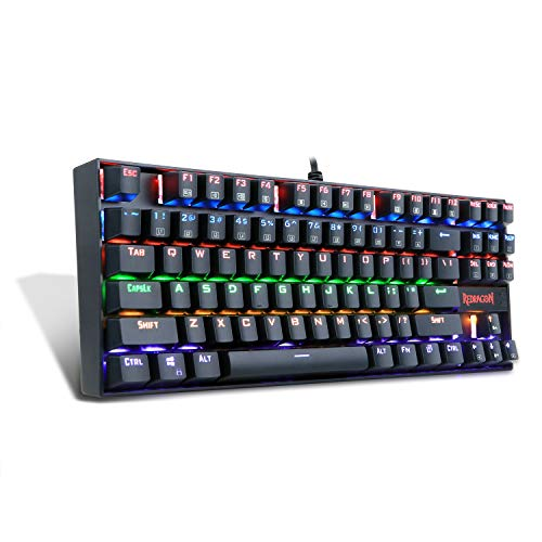 Redragon K552-R KUMARA LED Rainbow Backlit Mechanical Gaming Keyboard Small Mechanical Gamers Keyboard 87 Key Metal Computer USB Gaming Keyboard for PC Quiet Cherry MX Blue Equivalent (Black)