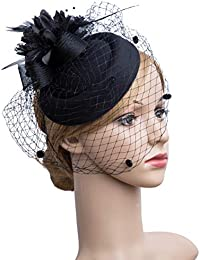 Fascinator Hair Clip Pillbox Hat Bowler Feather Flower Veil Wedding Party  Hat Tea Hat 7450a080b17